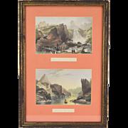 Pair 19th Century Engravings China Cataract Ting-Hoo & Hea Hills Chaow-King-foo