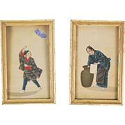 Pair Japanese Miniature Portrait Paintings on Silk Boy w/ Kite & Woman w Urn