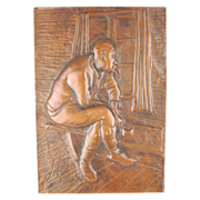 Copper Plaque Old Man in Long Underwear Smoking Pensively Looking out Window