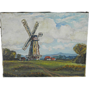 Early 20th Century Oil Painting Landscape with Windmill signed