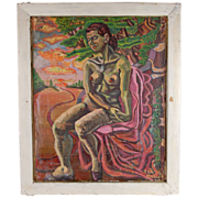 Floyd Butler Abstract Nude Portrait Oil Painting Outsider Michigan Artist