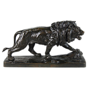 19th Century French Bronze Sculpture Lion Marchant signed Paul Thomas