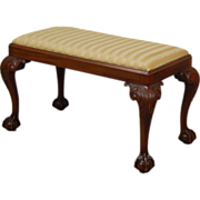 Vintage Mahogany Chippendale Bench w Finely Carved details & Ball in Talon Feet