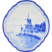 Antique Delft Plaque Hand Painted Windmill with Sailboat docked