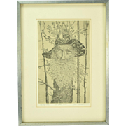 Curt Frankenstein Surrealist Etching The Old Tree Signed Chicago Artist