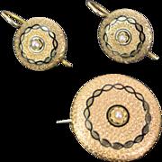 Victorian 14k Yellow Gold w Seed Pearl Earrings w Pendant/Brooch Demi Parure Set