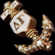 1955 Delta Gamma Sorority Anchor Pin 10k Gold Diamond Seed Pearls