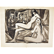 Andre Delfau Original Watercolor Painting Nude Women Behind Bars