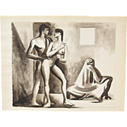 André Delfau Original Watercolor Painting Erotic Nude Couple
