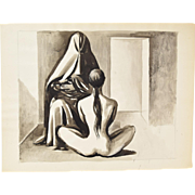 Original Andre Delfau Watercolor Painting Nude Seated in Front of Middle Eastern Woman w Burka