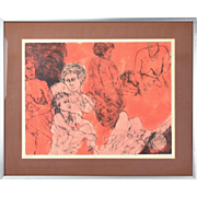 Vintage 1970's L/E Lithograph Nude Abstracted Nude Women