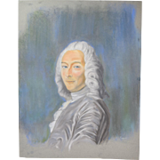 Original Pastel Drawing 18th Century Nobleman in White Wig Signed Kopala Chicago Artist