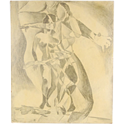 1968 Nude Go-Go Bump Cubist Girls Drawing Indiana Artist