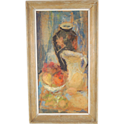 Mid-century Impressionist Still Life Painting Collage by Barbara Meeker Indiana