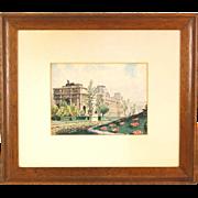 SOLD 1939 French Watercolor Painting Arc de Triomphe du Carrousel du Louvre by Baudet
