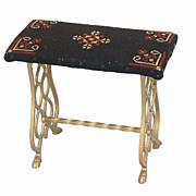Art Deco Iron Bench Needlepoint Upholstered Top