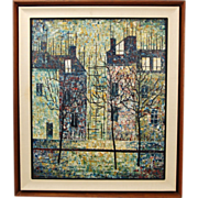 Mid-Century Modern Pointillist Oil Painting Streetscape w Row Houses signed