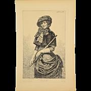 Georges Lehmann 1883 French Etching Portrait Woman with Parasol Bustle Dress
