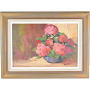 Vintage Impressionist Floral Still Life Painting Flowers Alfredson Chicago Indiana Artist