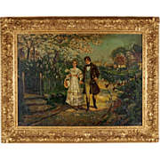 Circa 1900 Impressionist Oil Painting Handsome Young Couple Courting on Walk