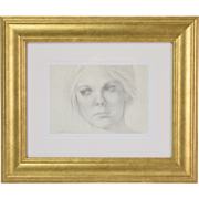 1970's Finely Rendered Pencil Portrait of Young Woman signed Michael Martin