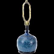 Vintage Mid-Century Modern Blue-Green Ceramic Pottery Bottle Vase Table Lamp