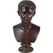 Late 19th - Early 20th Century Bronze Patinated Copper Bust of a Young Cesar