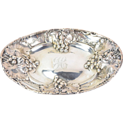 Circa 1900 Mauser American Sterling Silver Tray Serving Dish Repousse Grape Bunches