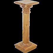 Vintage Carved Pine Corinthian Column Pedestal Sculpture Stand
