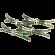 4 Vintage Los Castillo Malachite and Brass Drawer Pulls style of Pepe Mendosa