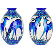 Pair Iconic Art Deco Vases Charles Catteau Stag & Doe Boch Freres Keramis