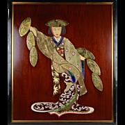 Mid-century Modern Ceramic Tile Mural of Geisha Girl Irina Lorin