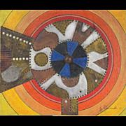 """Indicator 3"" Mid-Century Geometric Abstract Metal Sculpture Oil Painting Hlavacek"