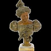 Antique Art Nouveau Spelter Bronze Bust of Contemplative Beauty