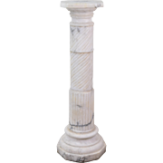 Vintage Neo-Classical Reeded Twist Carved Marble Pedestal Sculpture Stand