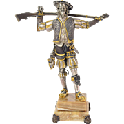 Italian Bronze Sculpture 16th C. Silesian Mercenary w Long Gun by Danesin