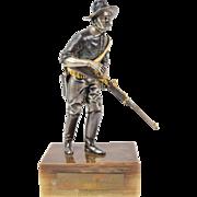 Italian Gilt Bronze 19th American Trooper Springfield Rifle Colt Revolver by Danesin