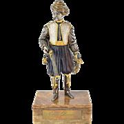 Italian Gilt Bronze 18th C. Noble Ottoman w Blunderbuss & Scimitar by Danesin
