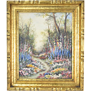 Circa 1920's Impressionist Landscape Wildflowers Painting Gilt Frame sgnd Leblond
