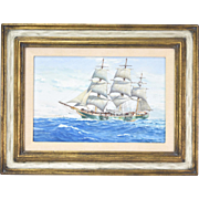 """Charles Rosner """"The Little Full Rigged Ship Joseph Conrad"""" Watercolor Painting"""