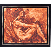 Mid-century Abstract Monochrome Oil Painting Seated Nude Woman