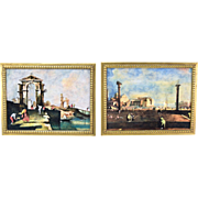 Pair Italian Hand Painted Pottery Plaques Depicting Venetian Architectural Scenes