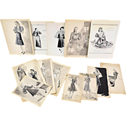 Collection 13 Pen & Ink 1940's Women's Fashion Illustrations Florence Pollard