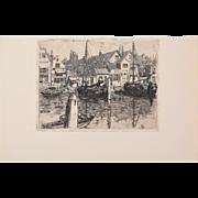 George Charles Aid - The Meuse in Dordrecht 1903 Etching Gazette des Beaux Arts