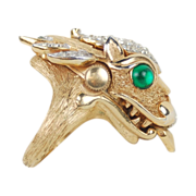 1960's Crown Trifari 'Something Wild' Collection Dragon Ring w Hidden Watch