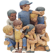 "Studio Pottery Figural Group Children on Parade Curb ""Here They Come!"""