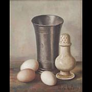 Henk Bos Dutch  Old Master Style Still Life Painting Beaker Hard-Boiled Eggs