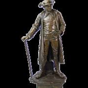 1887 Austrian Bronze Genre Statue of Man in Duster Coat w Cane and Bush Hat