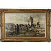 Late 19th Century Oil Painting Breton Fisherman Bringing in the Catch signed