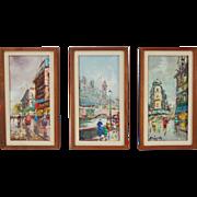 3 Mid-Century Modern Impressionist Oil Paintings Triptych Paris Street Scenes